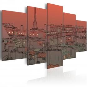 Foto schilderij - Sunset on the background of Eiffel Tower