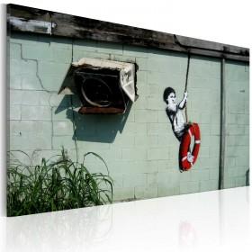 Foto schilderij - Boy on a swing (Banksy)