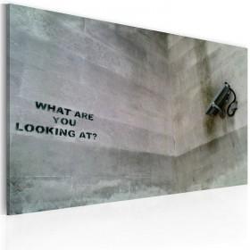 Foto schilderij - Wat ben je aan het kijken? (Banksy)
