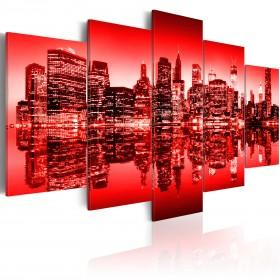 Foto schilderij - Rode gloed boven New York - 5 stuks