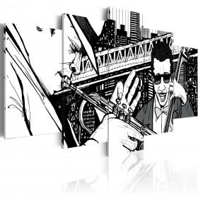 Foto schilderij - Jazzconcert op de achtergrond van wolkenkrabbers van New York - 5 stuks