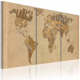 Foto schilderij - De wereldkaart in beige en bruin