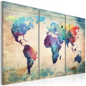 Foto schilderij - Rainbow-hued kaart - triptiek