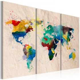 Foto schilderij - De wereld van kleuren - triptiek