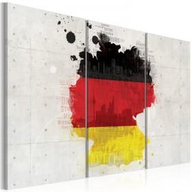 Foto schilderij - Kaart van Duitsland - triptiek