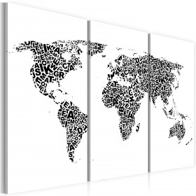 Foto schilderij - De Wereld kaart - alfabet - triptiek