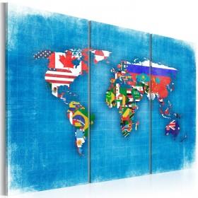 Foto schilderij - Vlaggen van de Wereld - drieluik