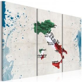 Foto schilderij - Kaart van Italië - triptiek