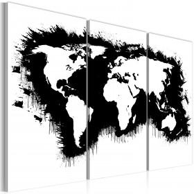 Foto schilderij - Monochromatisch kaart van de Wereld - drieluik