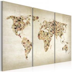 Foto schilderij - Beige tinten van de Wereld - drieluik