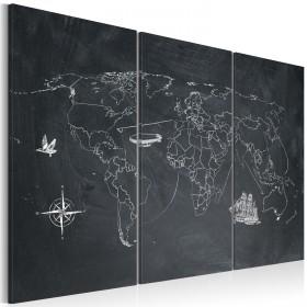Foto schilderij - Reis rond de Wereld - drieluik