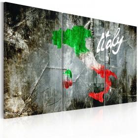Foto schilderij - Artistieke kaart van Italië - triptiek