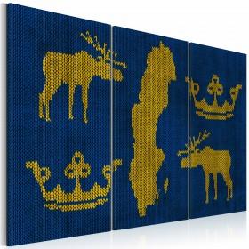 Foto schilderij - Het Koninkrijk Zweden - triptiek