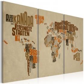 Foto schilderij - Kaart van de Wereld (Duits) - drieluik