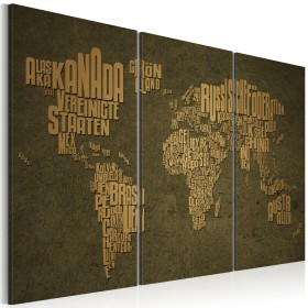 Foto schilderij - De kaart van de wereld, Duitse taal: Beige continenten - triptiek
