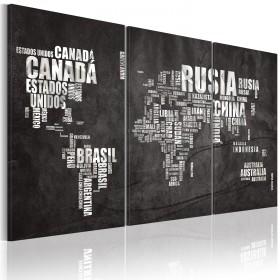Foto schilderij - Kaart van de Wereld (Spaans) - drieluik
