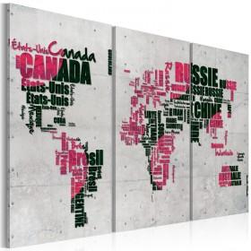 Foto schilderij - Kaart van de Wereld (Franse taal) - drieluik