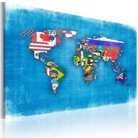 Foto schilderij - Vlaggen van de Wereld