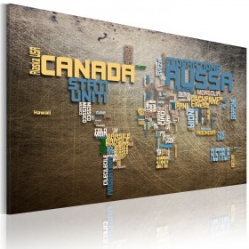 Foto schilderij - Kaart van de Wereld (Italiaanse taal)