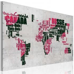Foto schilderij - Kaart van de Wereld (Franse taal)