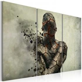 Foto schilderij - The man of stone - triptych