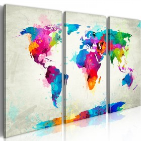 Foto schilderij - World Map: An Explosion of Colors