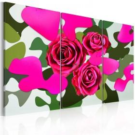 Foto schilderij - Neon roses - triptych