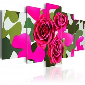 Foto schilderij - Neon roses - 5 pieces