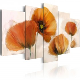 Foto schilderij - Artistic poppies - 5 pieces