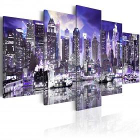 Foto schilderij - Moonlit night in New York City