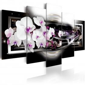 Foto schilderij - Orchids on a black background
