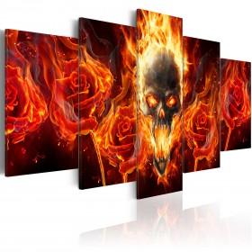 Foto schilderij - Fiery skull