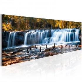 Foto schilderij - Autumnal Waterfall
