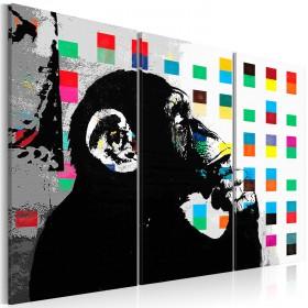 Foto schilderij - The Thinker Monkey by Banksy