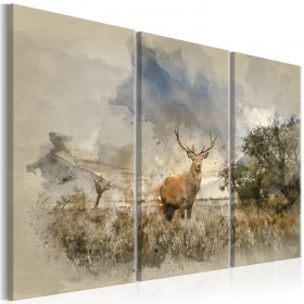 Foto schilderij - Deer in the Field I