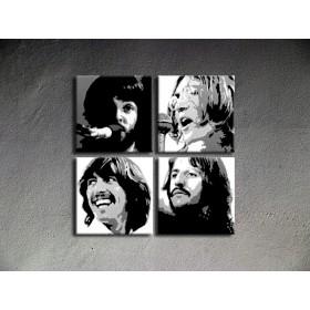 Popart schilderij Beatles 4 delig 2
