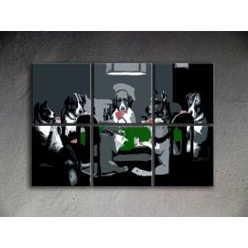 Popart schilderij Poker Dogs