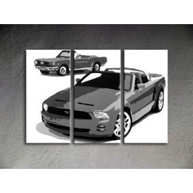 Popart schilderij Ford Mustang 3 delig