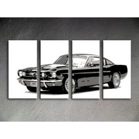 Popart schilderij Ford Mustang 4 delig