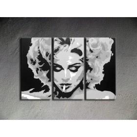 Popart schilderij Madonna 3 delig