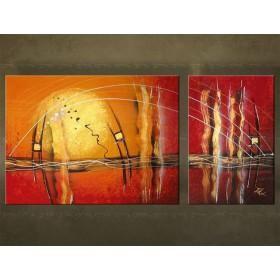 Handgeschilderd schilderij Abstract 2 delig 2429FA