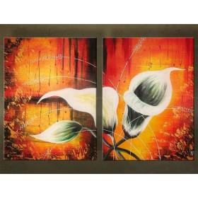 Handgeschilderd schilderij Bloemen 2 delig  3394FA