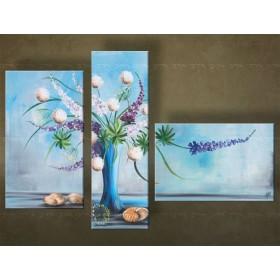 Handgeschilderd schilderij Bloemen 3 delig 4367FA