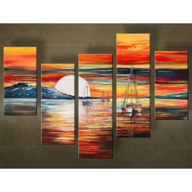 Handgeschilderd schilderij Zonsondergang 5 delig 4645FA
