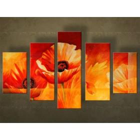 Handgeschilderd schilderij Bloemen 5 delig  4933FA