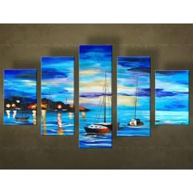 Handgeschilderd schilderij Landschappen 5 delig  5550FA