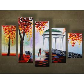 Handgeschilderd schilderij Park 5 delig 5740FA