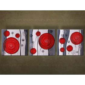 Handgeschilderd schilderij Abstract 3 delig  5978FA