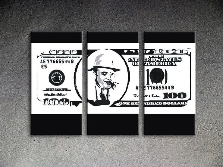 Popart schilderij Al Capone Dollar