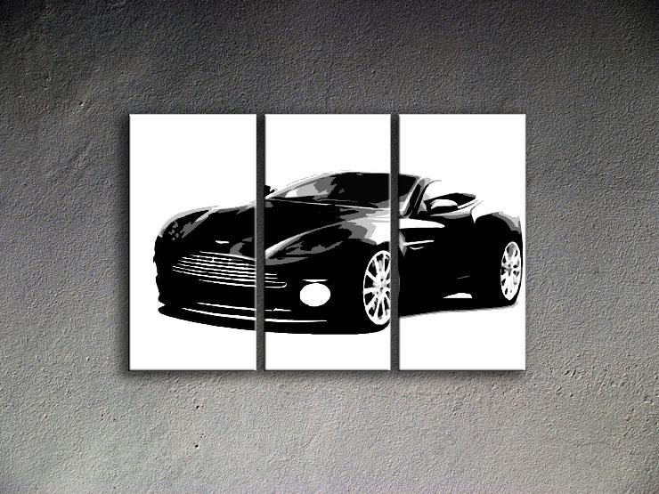 Popart schilderij Aston Martin 3 delig